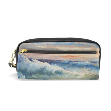 COOSUN Oil Painting Showing Huge Sea Waves During The Storm Portable PU Leather Pencil Case School Pen Bags stationery Pouch Case Large Capacity Makeup Cosmetic Bag