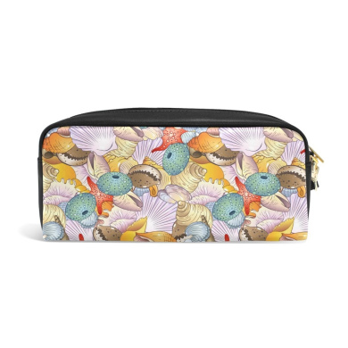 COOSUN Sea Shells Background Portable PU Leather Pencil Case School Pen Bags stationery Pouch Case Large Capacity Makeup Cosmetic Bag