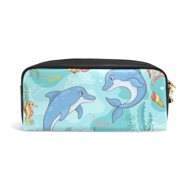COOSUN Two Dolphins The Sea Portable PU Leather Pencil Case School Pen Bags stationery Pouch Case Large Capacity Makeup Cosmetic Bag