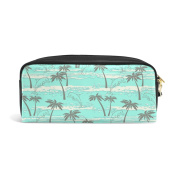 COOSUN Palms And Dolphins Portable PU Leather Pencil Case School Pen Bags stationery Pouch Case Large Capacity Makeup Cosmetic Bag