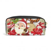 COOSUN Christmas Poster Design With Santa Claus Portable PU Leather Pencil Case School Pen Bags stationery Pouch Case Large Capacity Makeup Cosmetic Bag