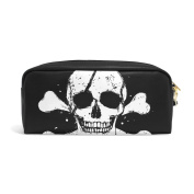 COOSUN Black Pirate Flag Portable PU Leather Pencil Case School Pen Bags stationery Pouch Case Large Capacity Makeup Cosmetic Bag