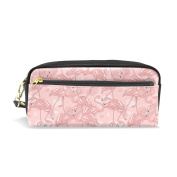 COOSUN Flamingos Pattern Portable PU Leather Pencil Case School Pen Bags stationery Pouch Case Large Capacity Makeup Cosmetic Bag