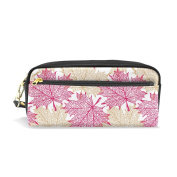 COOSUN Maple Leaves Pattern Portable PU Leather Pencil Case School Pen Bags stationery Pouch Case Large Capacity Makeup Cosmetic Bag