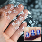 Snowflakes Nail Decals Christmas White Transfer Nail Stickers by UmayBeauty