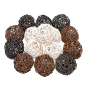 15PCS Mixed Brown White Black Wicker Rattan Ball Wedding Table Centrepieces Vase Filler Living Room Hanging Nursery Mobiles Pet Toy