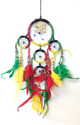 Dream Catcher - Rasta Coloured Tiny Beaded Rings and Feathers - 46cm Length ~ All Items Dispatched Same Day ~ Royal Mail ~ When Purchased Before 1pm Mon – Fri