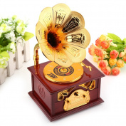Retro Hand-cranked Phonograph Shape Music Box Classic Gold Trumpet Horn Art Music Box & Make up Case & Jewellery Box Crafts Gift Home Decoration