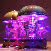 Woopower Carousel Music Box Merry-Go-Round 3-horse Box with Flash Light for Birthday Christmas Gift