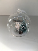 Clear Bauble with Cute Reindeer & Snow Scene Inside Glass Christmas Tree Decoration