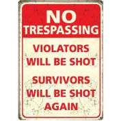 No Trespassing Metal Wall Sign (40cm)