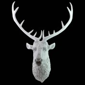 Stag Deer Head Wall Hanging 86cm White Resin Sculpture