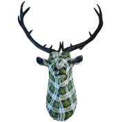 Stag Deer Head Wall Hanging 86cm Green Tartan Resin Sculpture