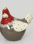 FRENCH DECORATIVE CERAMIC CHICKEN 10.8x7.2x11.3 cm RED HEAD GREY BODY 4
