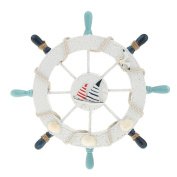 ZHJZ Wooden Ship Steering Wheel Wall Hanging Decor