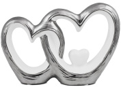 BRUBAKER Two Hearts Sculpture in Porcelain Chrome White 19cm Wide