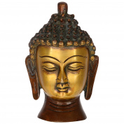 Purpledip Buddha Head In Pure Brass Metal