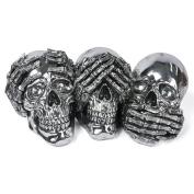 Wise Skulls Skeleton Figures 40cm See, Hear, Speak No Evil Silver Electroplated Resin
