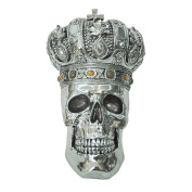 King Skull With Crown 37cm Electroplated Resin Sculpture