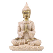 Buddha Statue, Sandstone Buddha, Amitabha Buddha Figurine Praying, Eastern Enlightenment Buddhism For Home Altar Zen Decoration Housewarming Gift