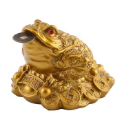 Lucky Money Frog/Toad, Feng Shui Toad/ Frog Treasure Basin Statue With Coin Attract Wealth and Good Luck, Feng Shui Decoration