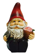 Hi-Line Gift Ltd Gnome Sitting with Shovel and Glowing Flower - Solar LED