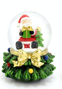 MUSICAL Christmas Santa Claus Snow Globe Ball Snow Storm Plays WE WISH YOU A MERRY XMAS