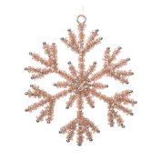 Magic Bead Solid Rose Gold 10cm Snowflake Hanging Decoration Wedding Christmas