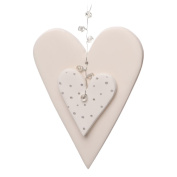 Gorgeous White Clay Double Heart Hanging Decoration Wedding Christmas Handmade Unique