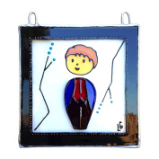 CHARACTER DOLL TOMA BOY 2 Painted Glass, Sun Catcher, Gift, Decoration, Art, Britain, Glassware