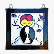 CHARACTER DOLL KASUMI GIRL Painted Glass, Sun Catcher, Gift, Decoration, Art, Britain, Glassware