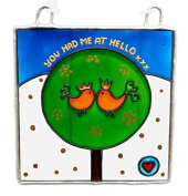 YOU HAD ME AT HELLO Painted Glass, Sun Catcher, Gift, Decoration, Art, Britain, Glassware