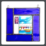 BEACH HUT Stained Glass, Hand Painted Sun Catcher, Gift, Window Decoration, Art Glassware, Hand Crafted in South of England
