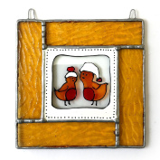 ROBINS Stained Glass, Hand Painted Sun Catcher, Gift, Window Decoration, Art Glassware, Hand Crafted in South of England