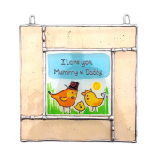 I LOVE YOU DADDY Stained Glass, Hand Painted Sun Catcher, Gift, Window Decoration, Art Glassware, Hand Crafted in South of England