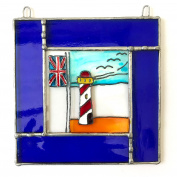 LIGHT HOUSE Stained Glass, Hand Painted Sun Catcher, Gift, Window Decoration, Art Glassware, Hand Crafted in South of England