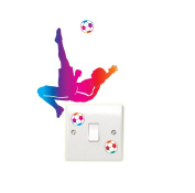 Football Overhead kick Light Switch Light Switch Wall Sticker Bedroom Playroom Fun Adhesive Vinyl
