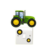 Green Tractor Light Switch Wall Stickers Children's Bedroom Playroom Fun Adhesive Vinyl