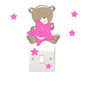 Teddybear & Stars - Pink - Light Switch Wall Stickers Children's Bedroom Playroom Fun Adhesive Vinyl