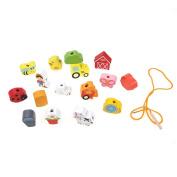 Domybest 16pcs Wooden Threading Stringing Beaded Toy Animal Fruit Block Kid Learning Educational DIY Toys