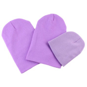 Greenlans 3PCS Winter Warm Soft Cotton Solid Colour Mother Father Baby Family Beanie Hat Gift