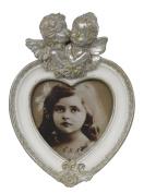 Antique Silver And White Cherub Love Heart Photo Frame 3 X 3