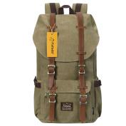 Fafada Unisex Backpack Women Mens Vintage Canvas Genuine Leather Travel School Bags Laptop Rucksack Daypack Kahki