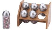 Renberg Wooden Bamboo Spice Rack Spice Organiser & 6 Glass Spice Jars