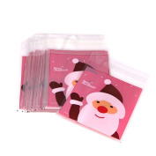 Sunwords 50Pcs Santa Claus Cellophane Cookie Fudge Candy Self Adhesive Christmas Gift Bag