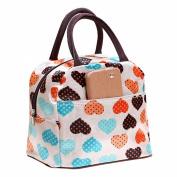 xinyiwei Portable Travel Lunch Bag Love Heart Pattern Waterproof Lunch Bag