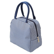 Albeey Striped Insulation Bag Lunch Bag Arc Mouth with Zipper