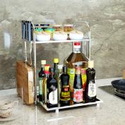 SHELVES Stainless Steel Kitchen Dressing Bottle Finishing Rack 2 Layer Kitchen Supplies Rack
