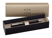 Parker S0282520 Vector Fountain Pen, Fine Nib, Gift Box - Black with Stainless Steel Trim
