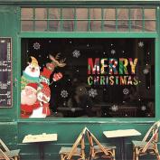 VENMO Cute Santa Deer Christmas Wall Art Stickers Murals Outdoor Indoor Xmas Window Vinyl Decals Clings Christmas Home Wall Decor